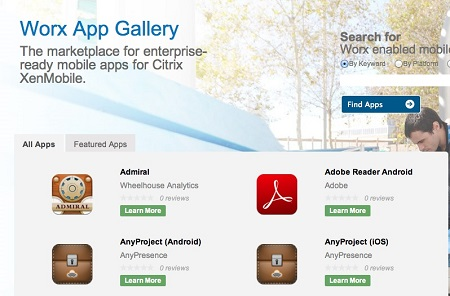 Citrix Worx App Gallery screen shot