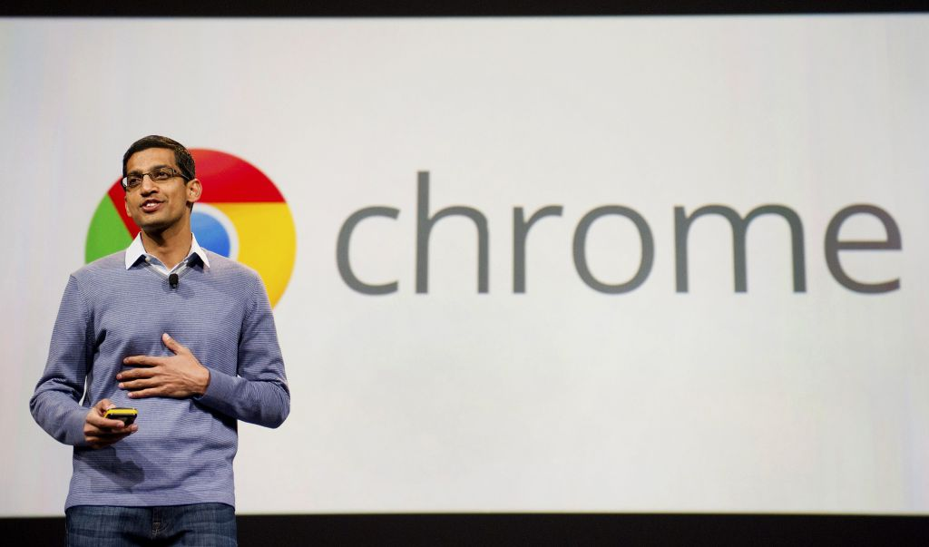 Sundar Pichai, senior vice president of Chrome and Apps at Google Inc., speaks during the Google I/O conference in San Francisco, California, U.S., on Thursday, June 28, 2012. Google Inc., owner of the world's most popular search engine, unveiled a cloud-computing service for building and running applications to help woo customers and challenge Amazon.com Inc.'s Web Services. Photographer: David Paul Morris/Bloomberg via Getty Images