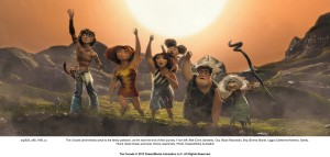 The Croods (and friends) wave to the family patriarch, as the near the end of their journey. From left: Belt (Chris Sanders), Guy (Ryan Reynolds), Eep (Emma Stone), Ugga (Catherine Keener), Sandy, Thunk (Clark Duke) and Gran (Cloris Leachman).