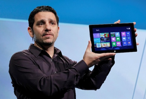 Panos Panay, the general manager of the team behind the Microsoft Surface holds up the new Microsoft Surface tablet pc